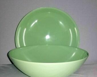 Vintage Melamine Jadeite Bowls,Set of 2,Pastel Green Bowls,Melmac Bowls, Retro Kitchen,Jadeite,Glamping,Picnic Dishes,Melmac Serving Bowl