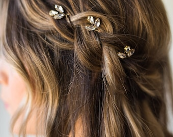 Crystal Hair Pins Bridal Hair Pins Wedding Hair Pins Silver Hair Pins Gold Hair Pins Bridal Bobby Pins Minimal Hair Pins Headpiece #159