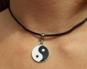 Yin yang choker, yin yang necklace, black cord choker, gift for her, bff