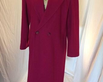 Vintage Womens MJ Seattle Long Fuchsia Jacket Wool Union Made ILGWU Union Tag Size 10