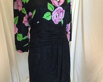 Vintage Lauren Alexandra 100% Silk Dress Black with Floral Pink and Green Bodice
