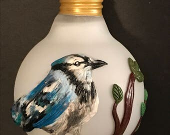 Recycled Light bulb ornament,polymer clay ornament,bird ornament,polymer clay Blue Jay,Blue Jay ornament
