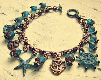 Beach Charm Bracelet, Nautical Bracelet, Ocean Charm Bracelet, Beach Charm Jewelry, Starfish Jewelry, Anchor Jewelry, Salvina's Treasures