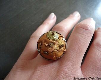 Ochre fabric ring