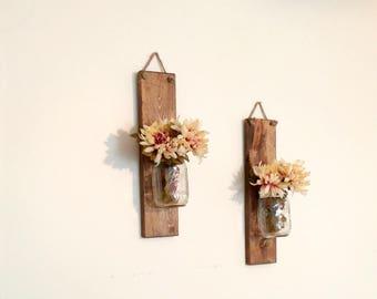 Hanging Mason Jar Wall Sconces, Wall Decor, Mason Jar Decor, Mason Jar Wall Decor, Rustic Home, Farmhouse Decoration