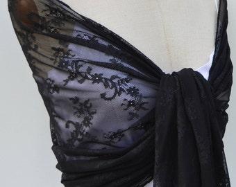 Black Lace, Black Lace scarf shawl, stole chic lace black evening stole, shawl black Gothic woman, sexy Black Lace shawl