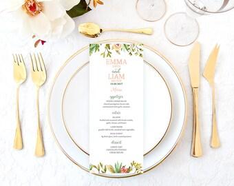 Rustic Wedding Menu, Floral Wedding Menu, Garden Wedding Menu, Printable Wedding Menu, Fall Wedding Menu