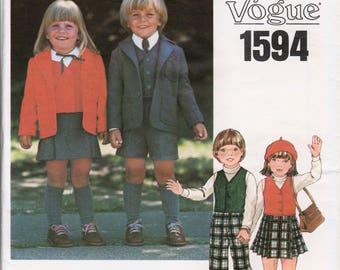 Childs Suit Pattern Boys Suit Pattern Girls Suit Pattern LITTLE VOGUE 1594 UNCUT sz 6X Girls Kilt Pattern Boys 3 Piece Suit Girls Skirt Suit