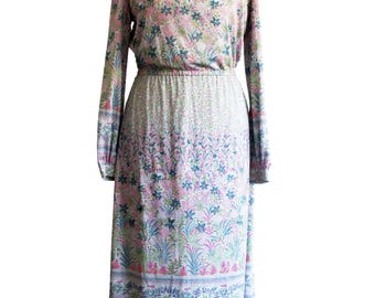 Vintage floral midi dress with purple and green palm leaf print, size UK 8, long sleeved