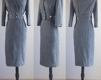 1950's Paul Parnes Grey Flecked Micro Check Wool Pencil Skirt Suit Set | Size Small