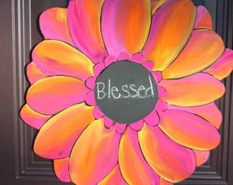 Gerber Daisy/Rainbow Sherbet Door Hanger with Chalkboard