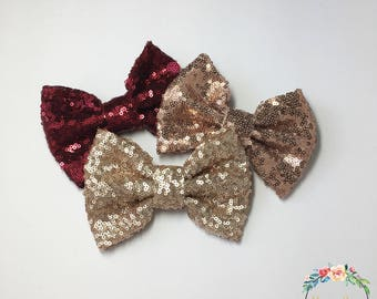 Fall Sequin Hair Bows | Maroon, Rose Gold and Champange