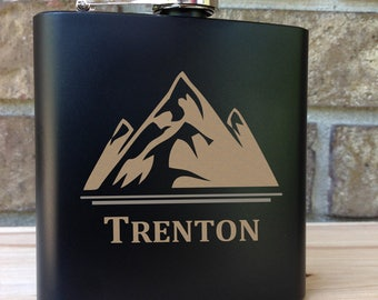Mountain Peak with Name Engraved Single Flask - Wedding Gift - Bridal Gift - Grooms Gift - SHIPS from the USA