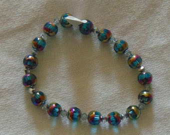 blue and silver sparkly beaded bracelet