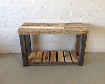 Reclaimed Recycled Wood Console Accent Sofa Entryway Entry Table Bathroom  Vanity Tv Stand Beach House Cabin