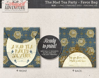 Printable Party Favor Bag, Alice In Wonderland, Mad Tea Party Decorations, Blue and Gold DIY Treat Bag, Mad Hatter, Instant Download