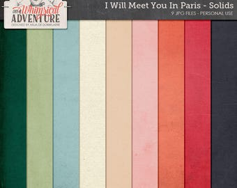 Paris digital download scrapbooking paper, French digital scrapbook paperpack, backgrounds, solids, textures, romantic, love, travel