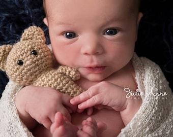 Newborn Props - Teddy Bear Stuffie - Mini Teddy Bear - Teddy Bear Prop - Baby Shower Gift - Woodland Props - Knit Bear - Bear Stuffie