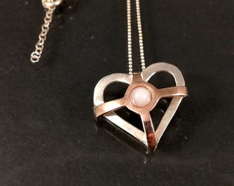 Valentine's heart necklace - Silver heart necklace -
