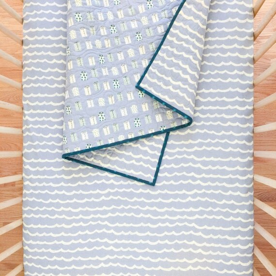 Crib Sheet - KUJIRA Waves in Fog - READY-to-SHIP