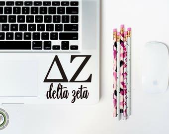 Delta Zeta with Script Vinyl Decal - Delta Zeta Decal - DZ Decal - Delta Zeta Laptop Decal - Delta Zeta Car Decal - DZ - Delta Zeta Gift
