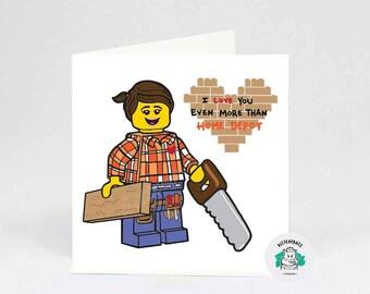 Home Depot Lego Lady Love archival cotton card by Kittenpants
