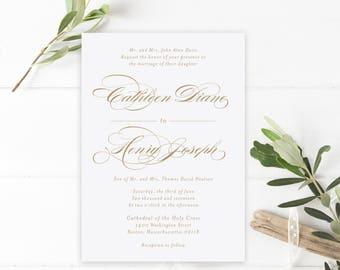 Wedding Invitation, Invitation Suite, Classic Invitations, Elegant, Gold, Wedding Invite, Printable Wedding Invitation, PDF, The Cathleen