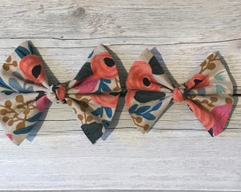 Floral Fabric Butterfly Bow- Tan, Peach, Pink Blue