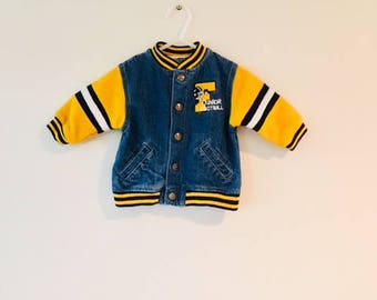 Vintage Baby Boy FOOTBALL Jean Jacket / Varsity Blue Jean Denim Yellow Stripe Toddler Coat / Size 12 Months