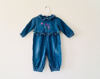 Vintage Blue Jean Baby Toddler Romper / One Piece Denim Girl Floral Overall Pants / Size 12 Months
