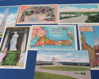 Lot of Vintage Linen Postcards Boston, Mass. Bunker Hill Cape Cod
