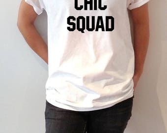 chic squad T-shirt With saying womens gift to her slogan tees  for teen sacarstic ladies cute  gifts tops fashion lazy trendy