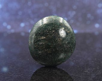 Polished Chrome Green Fuchsite Quartz from Madagascar | Golden Pyrite Inclusions | Palm Stone | Unusual Natural Crystal Mineral | 52.4 g