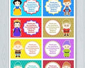 Snow White Thank You Tag, Snow White Thank You Card, Snow White Thank you Label, Snow White  Favor Tag