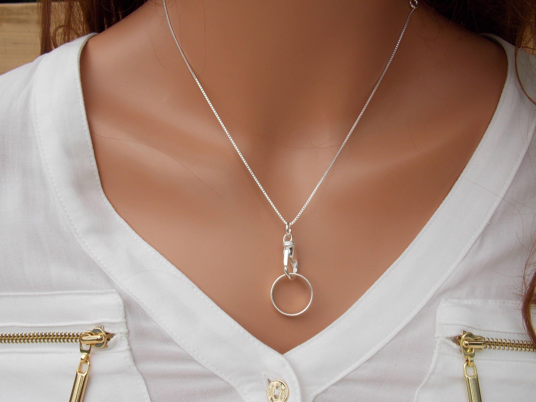 Ring Holder Necklace, Wedding Ring Holder, Necklace Ring Holder, Card Holder  Necklace, Charms Holder, Silver Necklace, Stampsink