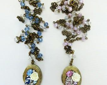 Oval locket necklace, Vintage inspired locket, Bronze locket, Picture locket, Victorian locket necklace, Blue locket, Pink locket