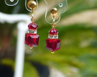 Pearl clip earrings of Swarovski Ruby Red Crystal and rhinestones