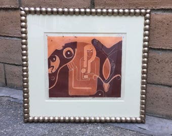 """K. Wright Signed Color Lithograph Art FEMINISM CHILD BIRTH Reproduction Mid Wife Framed 19"""" x 20 3/4"""""""