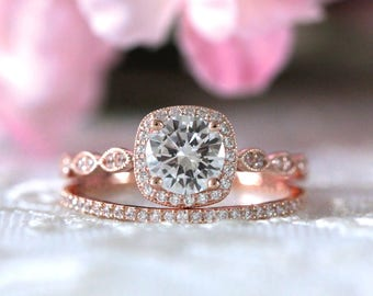 1.80 ct.tw Art Deco Bridal Set Ring-Halo Engagement Ring W/ All & Half Eternity Wedding Bnads-Rose Gold Plated-Sterling Silver [65355RG-2A]
