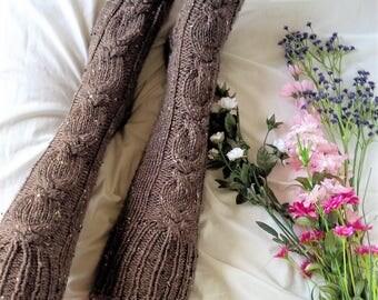Knit Socks for Women, Women's Cable Knitted Sock, Boot Sock for Her, Thigh High Sock, Hand Knit Sock, Women's Leg Warmers [THE ALANNAH SOCK]