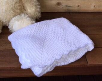 Crochet baby blanket throw unique white baby throw handmade newborn or christening gift  pram cot bassinet baby bedding gift Etsy Australia