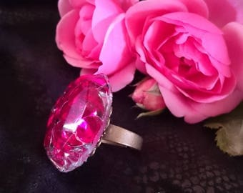 Original gift ring my FUCHSIA CRYSTALS