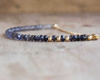 Ombre Water Sapphire Bracelet in Silver, Gold or Rose Gold, Iolite Bracelet, Dainty Stacking Bracelet, Inky Violet Blue Iolite Jewelry, Gift