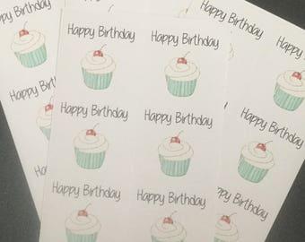 Happy Birthday Sticker, Cherry Vanilla Cupcake, Gift Wrapping, Scrapbook, square sticker, journal planning, planner, blue cupcake, cherry
