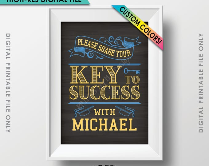 "Key to Success Graduation Sign, Graduation Advice, Grad Advice for Grad Sign, Custom Name & Colors PRINTABLE Chalkboard Style 5x7"" Sign"