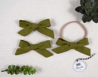 Bow Clip Pigtail Set or Headband | 'Jungle' | linen |  schoolgirl hair bows, baby, toddler girls