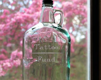 Tattoo Fund Jar, Large Glass Jug with Handle and Lid, Light Green