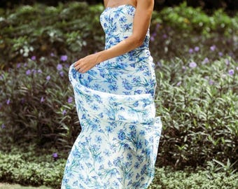 Floral Printed Design Long Bridesmaid Dress - Meadow by Matchimony