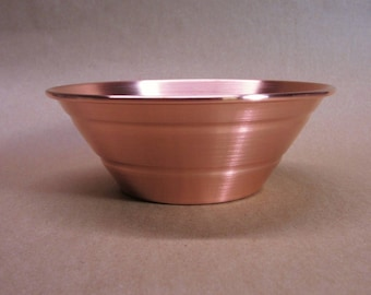"""Copper Bowl Seamless Hand Spun, 5 3/4"""" Size, Angled Sides, Handmade, New, Metal Spinning, Made in The USA"""