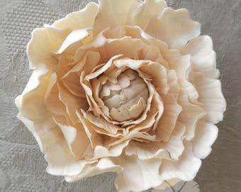 Single open peony 9cm, gumpaste sugar flower for wedding celebration cake